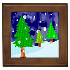 Christmas Trees And Snowy Landscape Framed Tiles