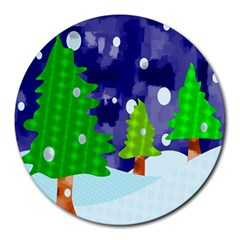 Christmas Trees And Snowy Landscape Round Mousepads