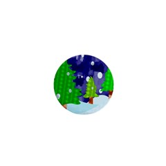 Christmas Trees And Snowy Landscape 1  Mini Buttons