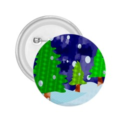 Christmas Trees And Snowy Landscape 2.25  Buttons