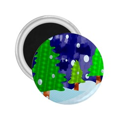 Christmas Trees And Snowy Landscape 2.25  Magnets