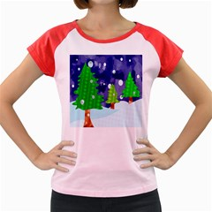 Christmas Trees And Snowy Landscape Women s Cap Sleeve T-Shirt