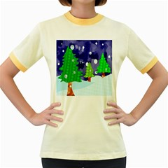 Christmas Trees And Snowy Landscape Women s Fitted Ringer T-Shirts