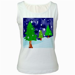 Christmas Trees And Snowy Landscape Women s White Tank Top