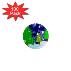 Christmas Trees And Snowy Landscape 1  Mini Magnets (100 pack)