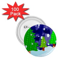 Christmas Trees And Snowy Landscape 1 75  Buttons (100 Pack)