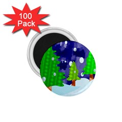 Christmas Trees And Snowy Landscape 1.75  Magnets (100 pack)