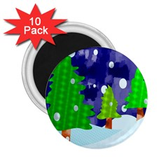 Christmas Trees And Snowy Landscape 2 25  Magnets (10 Pack)