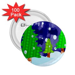 Christmas Trees And Snowy Landscape 2 25  Buttons (100 Pack)