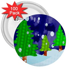 Christmas Trees And Snowy Landscape 3  Buttons (100 pack)