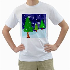 Christmas Trees And Snowy Landscape Men s T-Shirt (White) (Two Sided)
