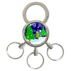 Christmas Trees And Snowy Landscape 3 Ring Key Chains