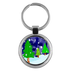 Christmas Trees And Snowy Landscape Key Chains (round)