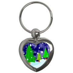Christmas Trees And Snowy Landscape Key Chains (heart)