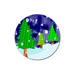 Christmas Trees And Snowy Landscape Magnet 3  (Round)
