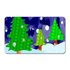 Christmas Trees And Snowy Landscape Magnet (Rectangular)