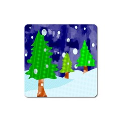 Christmas Trees And Snowy Landscape Square Magnet