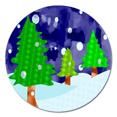 Christmas Trees And Snowy Landscape Magnet 5  (round)