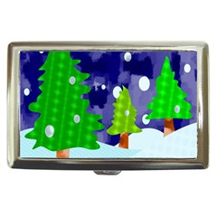 Christmas Trees And Snowy Landscape Cigarette Money Cases