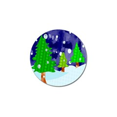 Christmas Trees And Snowy Landscape Golf Ball Marker (4 pack)