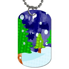Christmas Trees And Snowy Landscape Dog Tag (Two Sides)