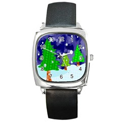 Christmas Trees And Snowy Landscape Square Metal Watch