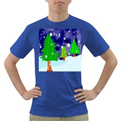 Christmas Trees And Snowy Landscape Dark T-Shirt