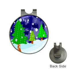 Christmas Trees And Snowy Landscape Hat Clips With Golf Markers