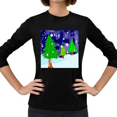 Christmas Trees And Snowy Landscape Women s Long Sleeve Dark T Shirts