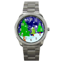 Christmas Trees And Snowy Landscape Sport Metal Watch