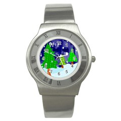 Christmas Trees And Snowy Landscape Stainless Steel Watch