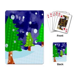 Christmas Trees And Snowy Landscape Playing Card
