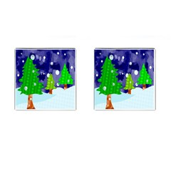 Christmas Trees And Snowy Landscape Cufflinks (square)