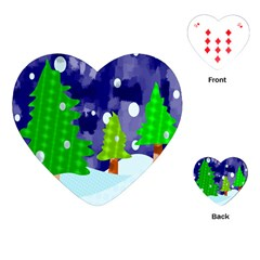 Christmas Trees And Snowy Landscape Playing Cards (heart)