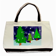 Christmas Trees And Snowy Landscape Basic Tote Bag