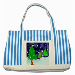 Christmas Trees And Snowy Landscape Striped Blue Tote Bag