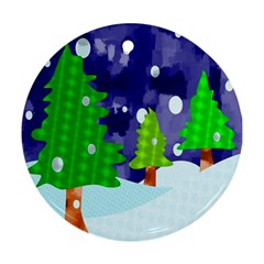 Christmas Trees And Snowy Landscape Round Ornament (two Sides)