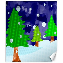 Christmas Trees And Snowy Landscape Canvas 20  X 24
