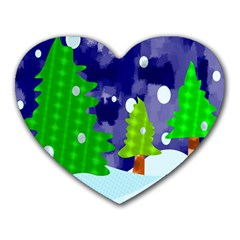 Christmas Trees And Snowy Landscape Heart Mousepads
