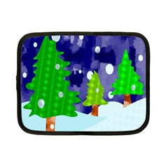 Christmas Trees And Snowy Landscape Netbook Case (small)