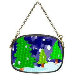 Christmas Trees And Snowy Landscape Chain Purses (two Sides)