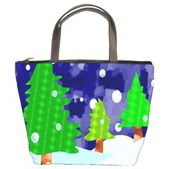 Christmas Trees And Snowy Landscape Bucket Bags