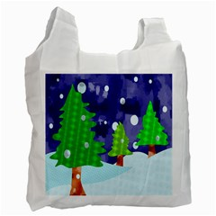 Christmas Trees And Snowy Landscape Recycle Bag (one Side)