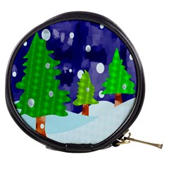 Christmas Trees And Snowy Landscape Mini Makeup Bags