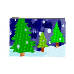 Christmas Trees And Snowy Landscape Cosmetic Bag (large)