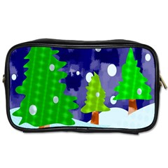 Christmas Trees And Snowy Landscape Toiletries Bags 2-Side