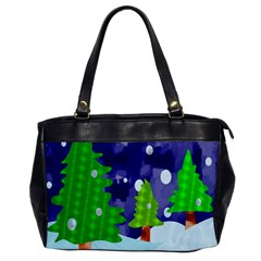 Christmas Trees And Snowy Landscape Office Handbags