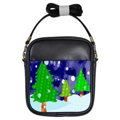 Christmas Trees And Snowy Landscape Girls Sling Bags