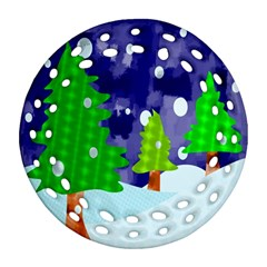 Christmas Trees And Snowy Landscape Ornament (round Filigree)
