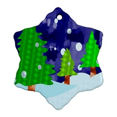 Christmas Trees And Snowy Landscape Ornament (snowflake)